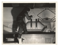Eric Mose working on murals at Samuel Gompers High School, ca. 1936 / unidentified photographer. Federal Art Project, Photographic Division collection, circa 1920-1965, Archives of American Art