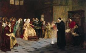 John Dee performing an experiment before Queen Elizabeth I. Oil painting by Henry Gillard Glindoni; Wellcome Library no. 47369i