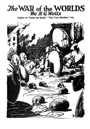 Interior illustration to H. G. Wells's novel The War of the Worlds (1898) from reprinting in Amazing Stories, August 1927.
